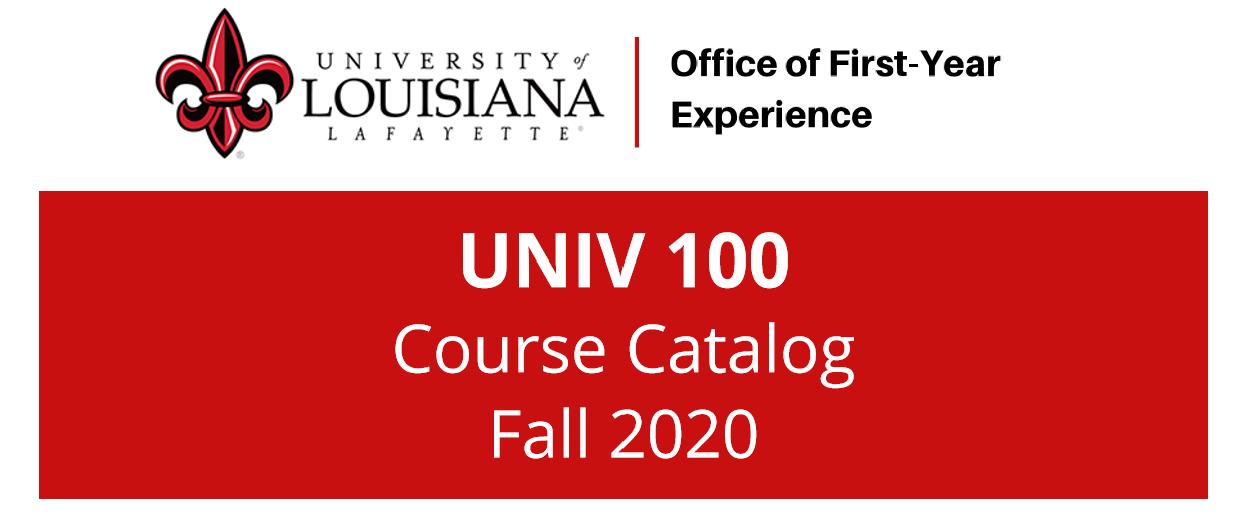 Fall 2020 UNIV 100 Course Catalog image