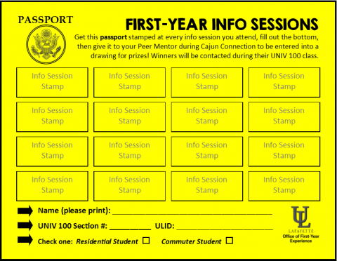 First-Year Info Sessions Passport