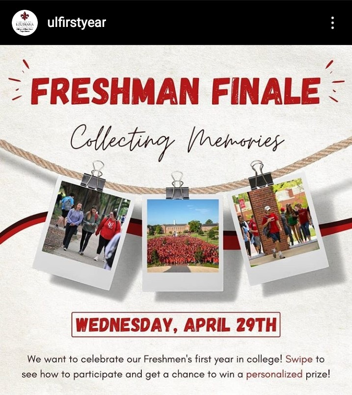 Virtual Freshman Finale on Instagram Wednesday April 29, 2020